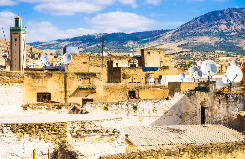 麦地那菲斯,摩洛哥全景  免版税库存照片