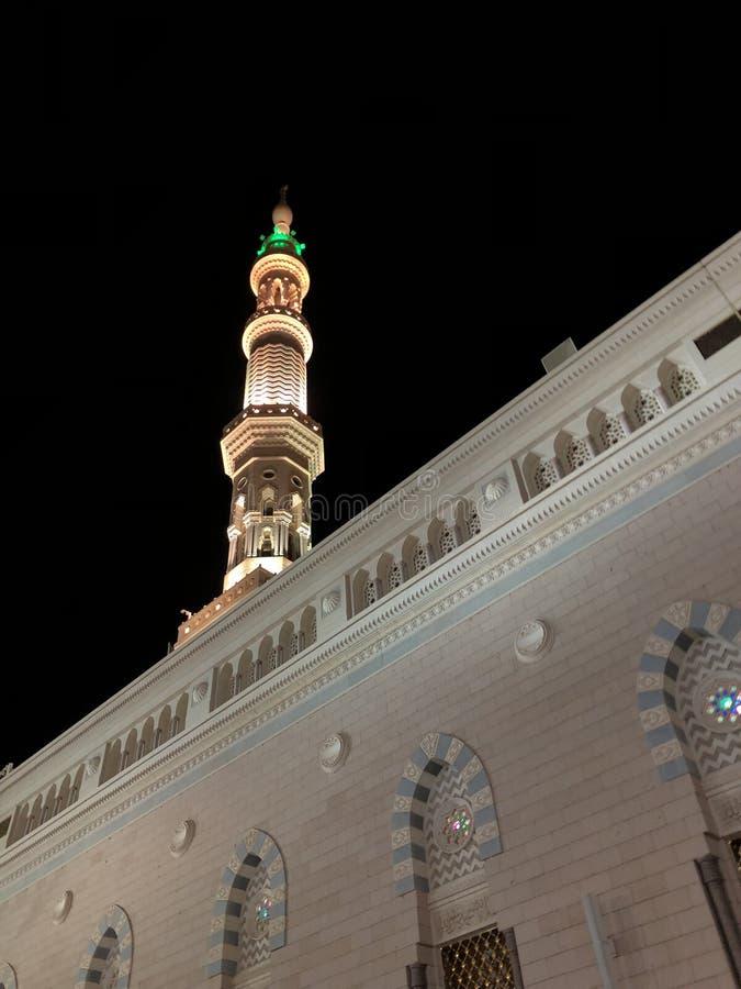 麦地那,Madinah 沙地阿拉伯航空阿拉伯半岛 先知穆罕默德清真寺 AlMasjid An-Nabavi 伟大的伊斯兰教的清真寺 在04拍的照片 28 2019? 库存照片