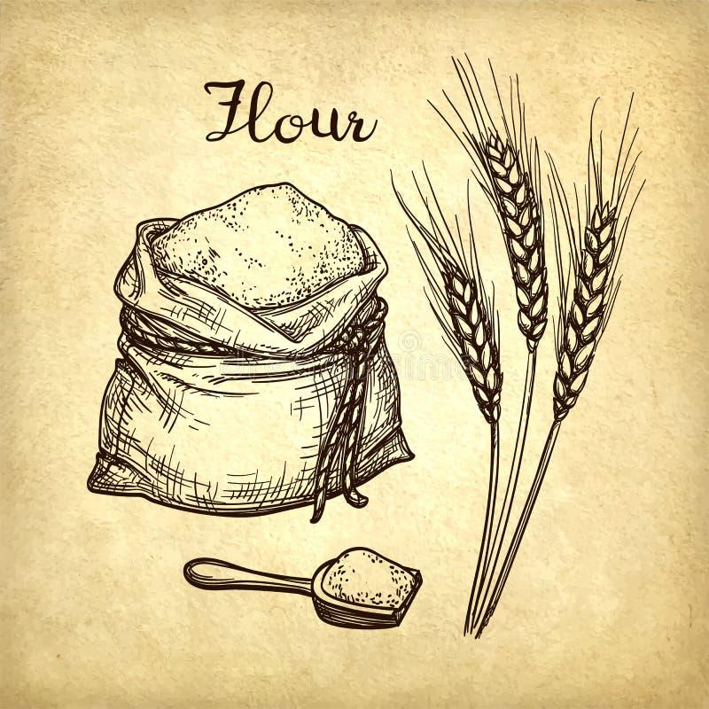 麦子、袋子面粉和木瓢 皇族释放例证