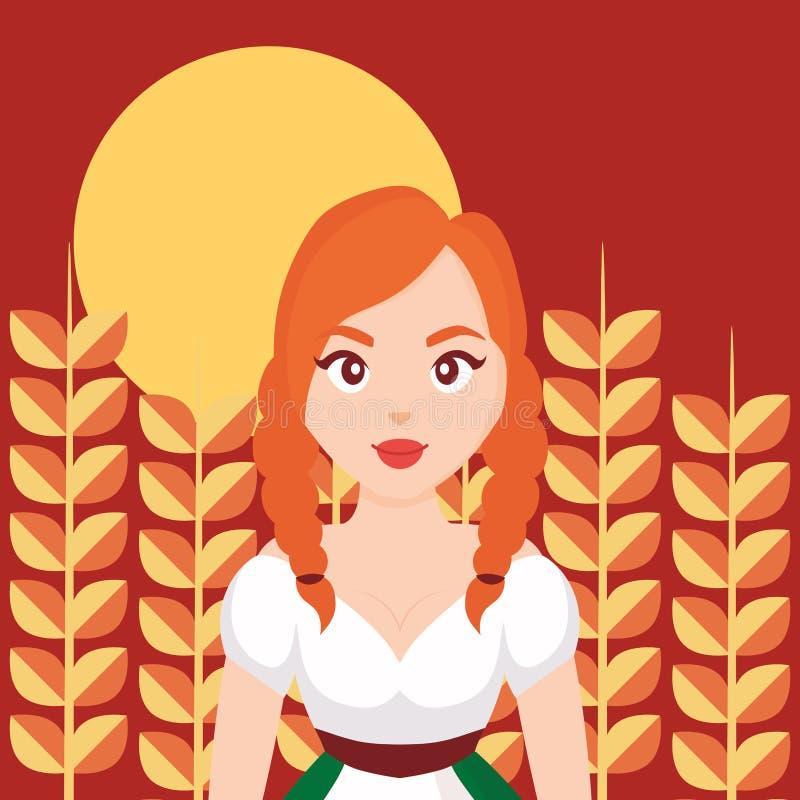 麦子耕种的德国妇女 库存例证