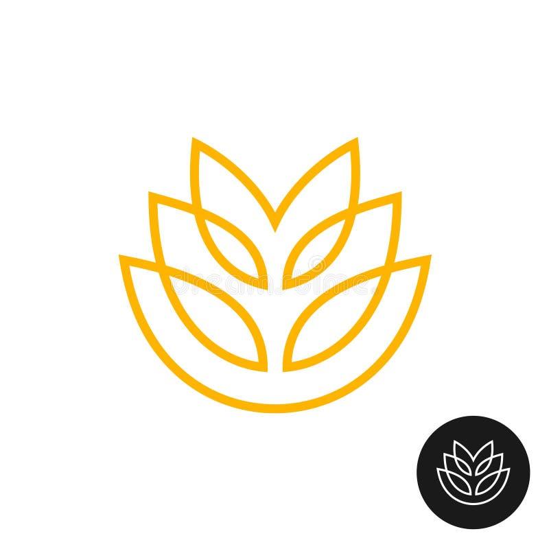 麦子耳朵线性样式商标 向量例证