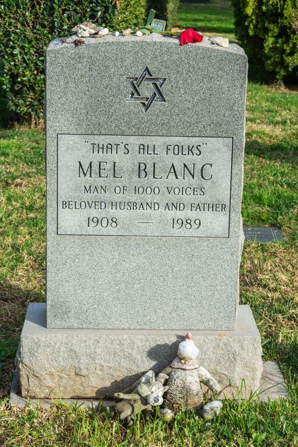 麦布朗墓碑在永远好莱坞公墓的在洛杉矶,加州 免版税库存图片