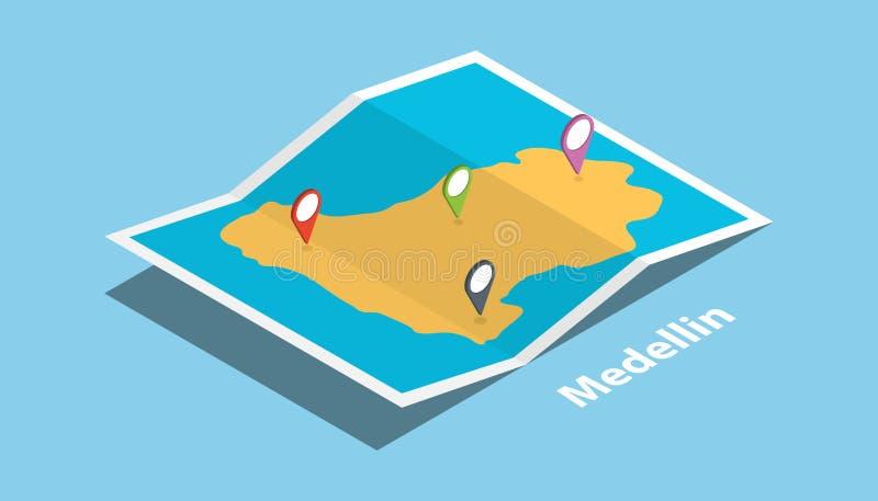 麦德林哥伦比亚自治市探索与等量样式和别针地点标记的地图在上面 皇族释放例证