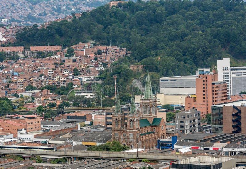 麦德林市,哥伦比亚鸟瞰图  免版税库存图片