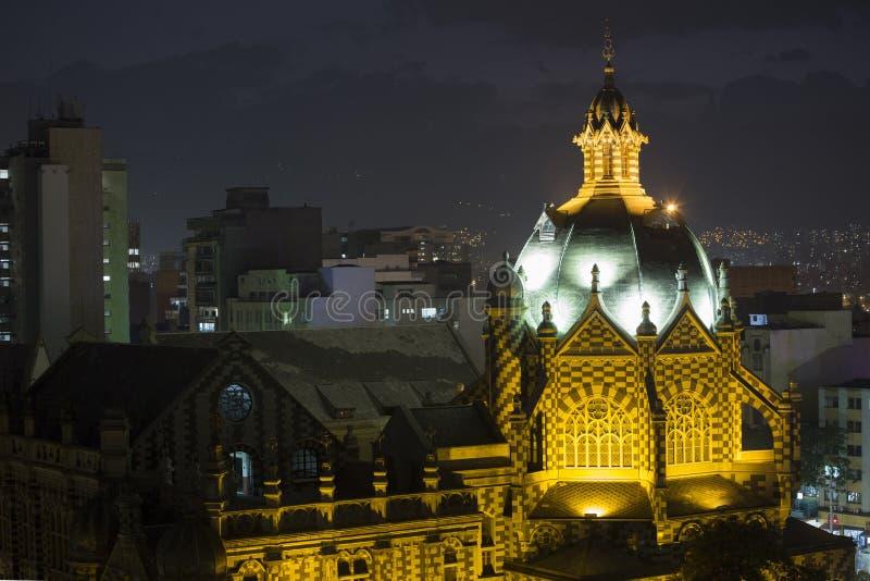 麦德林,哥伦比亚劳动人民文化宫1月29日2016年,建筑学了不起的工作  免版税图库摄影
