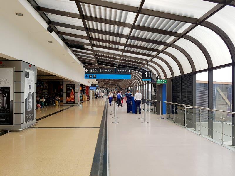 麦德林,哥伦比亚 05 05 2019年:机场何塞里约黑人的玛丽亚科多瓦省的内部或里面,有国际游人的和 免版税库存照片