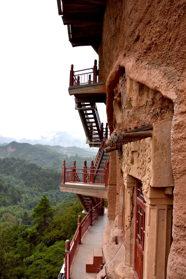 麦积山石窟国立公园,天水,中国 免版税库存照片