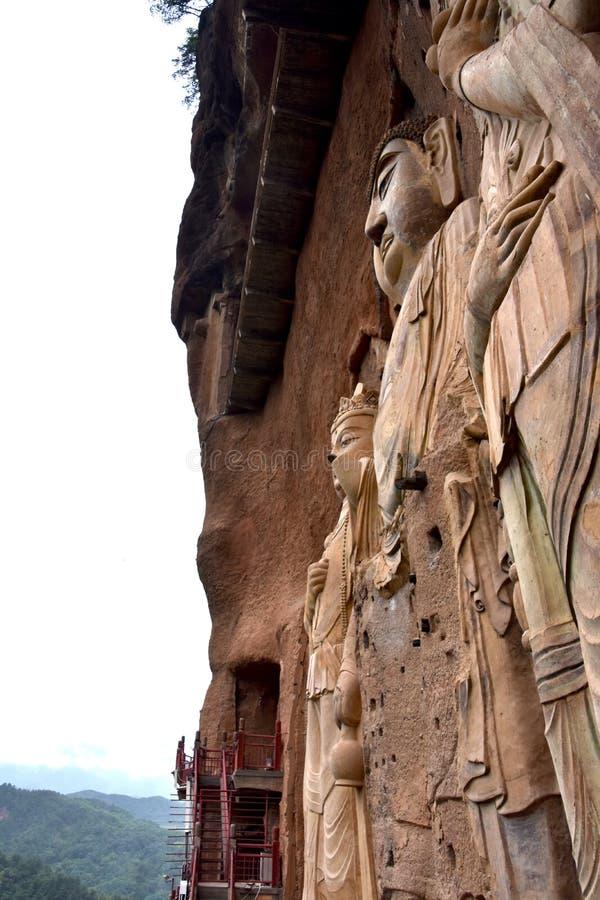麦积山石窟国立公园,天水,中国 免版税库存图片