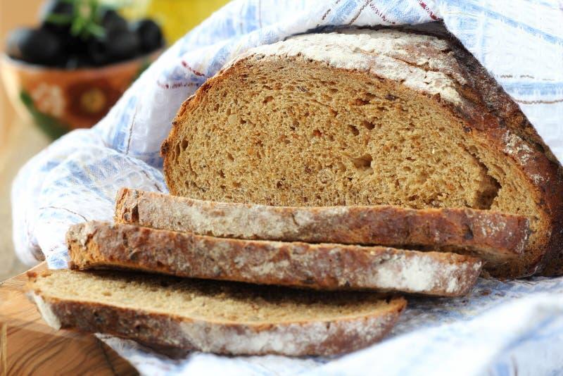 黑麦面包特写镜头 库存照片