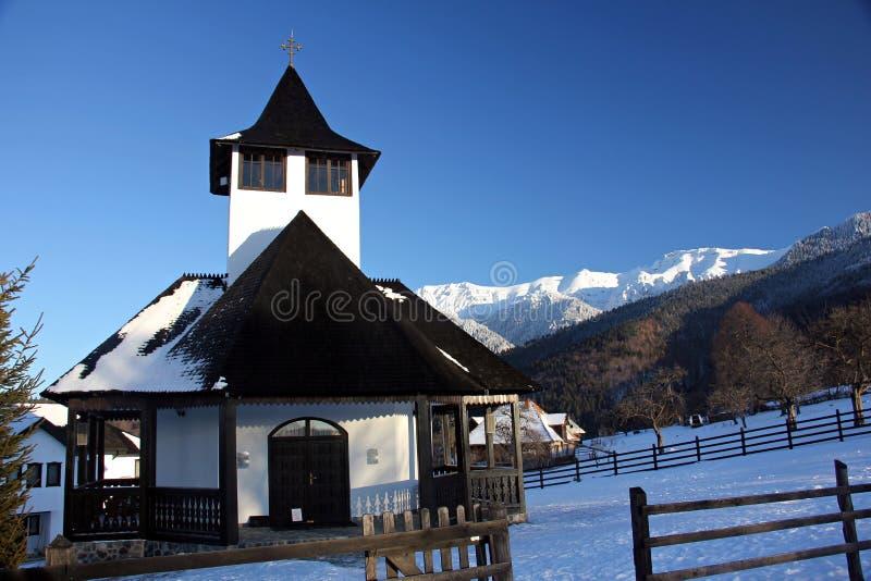 麸皮正统修道院-山的传统教会 库存图片