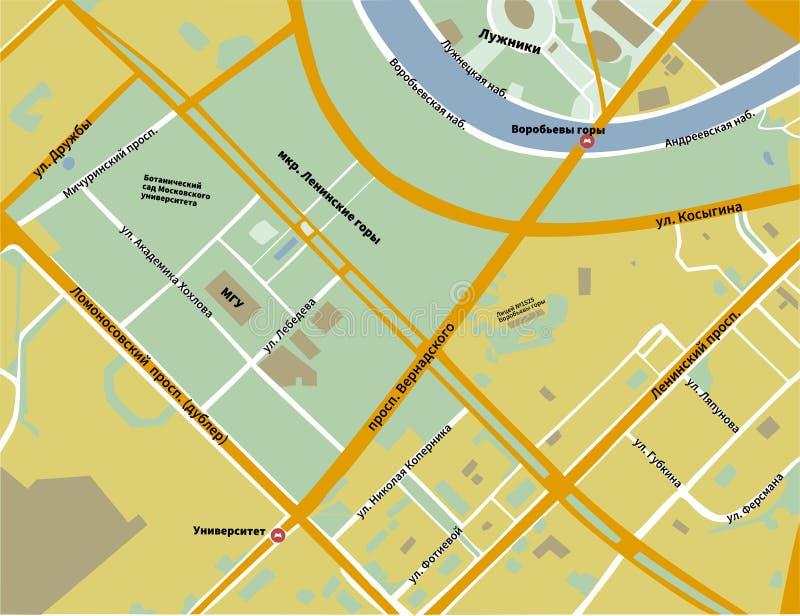 麻雀小山地图在莫斯科黄色颜色的 库存例证