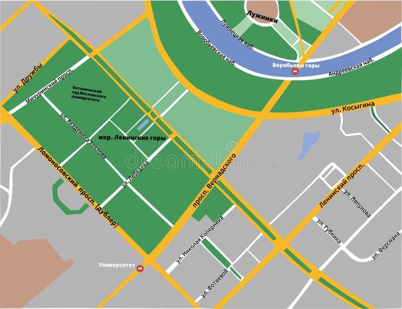 麻雀小山灰色地图在莫斯科 库存例证