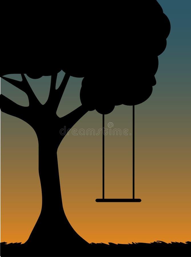 黄昏剪影摇摆结构树 库存例证