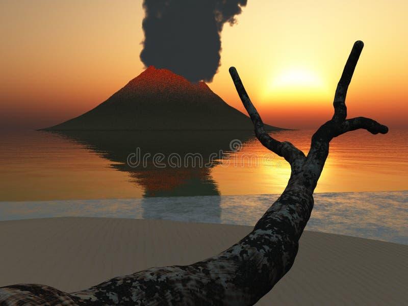 黄昏发光的火山 皇族释放例证
