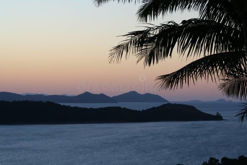 黄昏哈密尔顿海岛 免版税库存照片