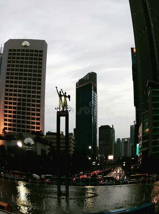 黄昏在中央雅加达 库存照片