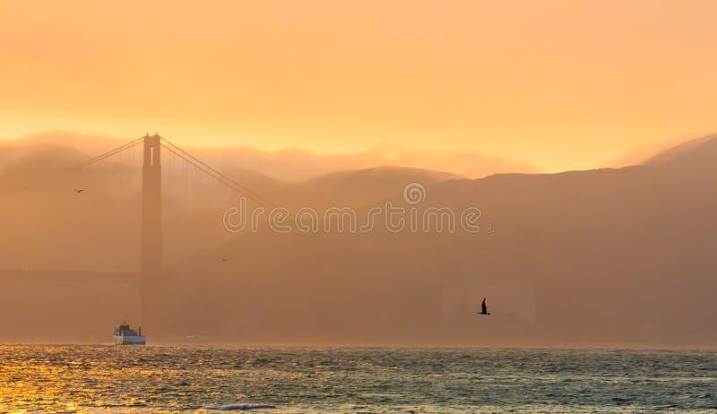 黄昏的金门大桥与雾 库存图片