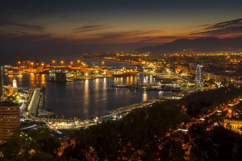 黄昏的,安大路西亚,西班牙马拉加市 库存照片