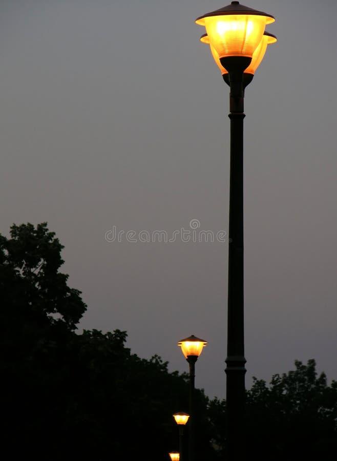 黄昏闪亮指示街道 库存照片