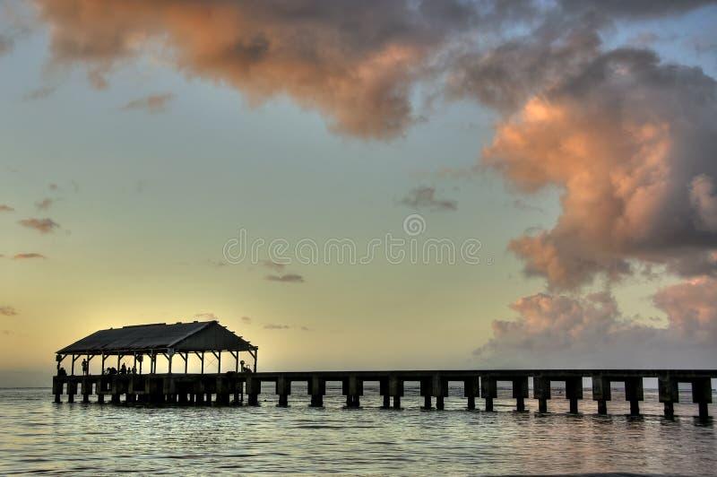 黄昏hanalei夏威夷考艾岛码头 免版税图库摄影