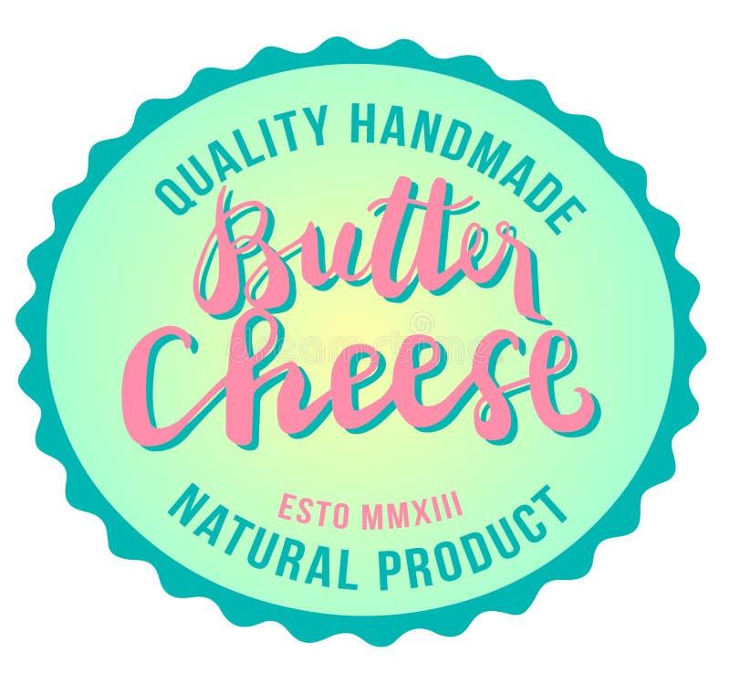 黄油乳酪标志,食物,手工制造的质量,天然产品,传染媒介您的商标的汇集图象,标签,象征 库存照片