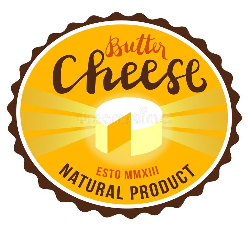 黄油乳酪标志,食物,手工制造的质量,天然产品,传染媒介您的商标的汇集图象,标签,象征 免版税图库摄影