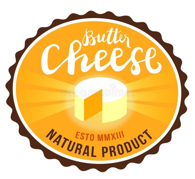 黄油乳酪标志,食物,手工制造的质量,天然产品,象征,礼节,标签 免版税图库摄影