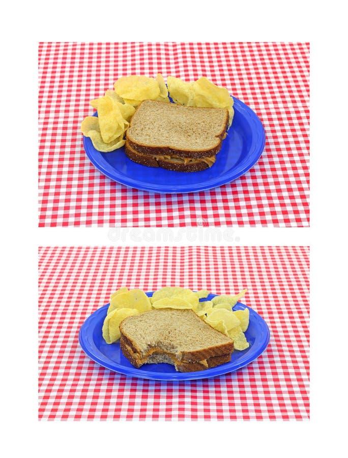 黄油切削花生三明治 免版税图库摄影