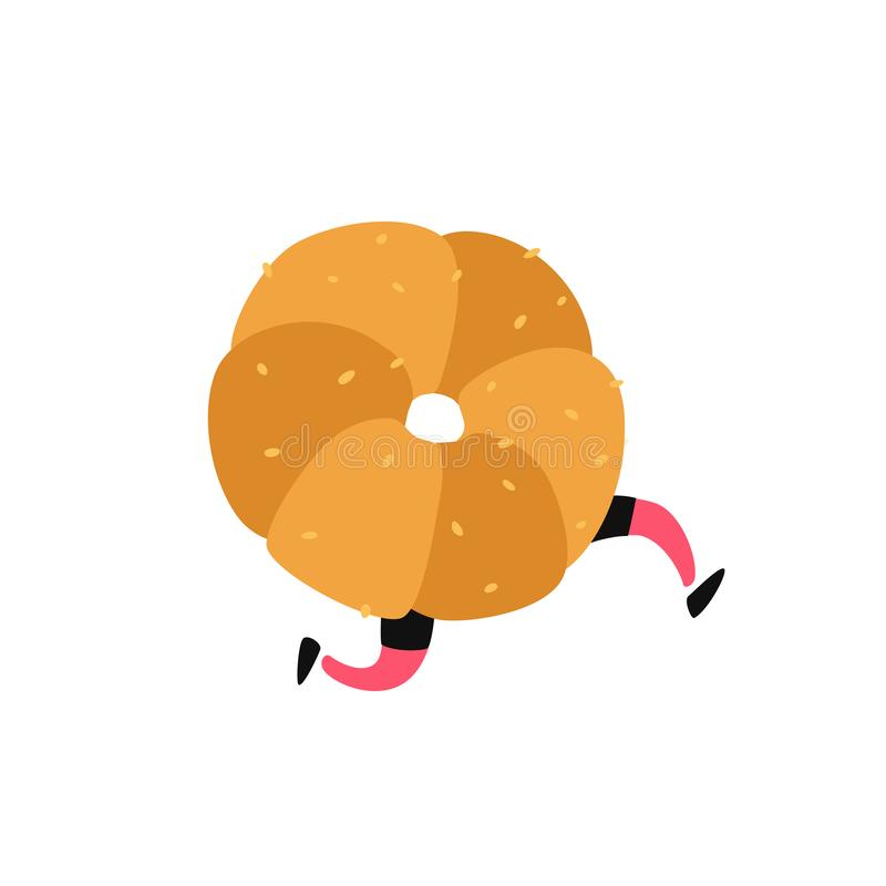 黄油蛋糕的例证 ?? 与腿的字符 站点的象白色背景的 标志,商店的商标 ??  向量例证
