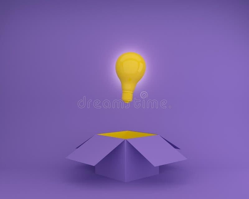 黄灯电灯泡发光的创造性的想法在紫色背景,关于事务的概念想法的箱子之外认为创新的a 库存例证