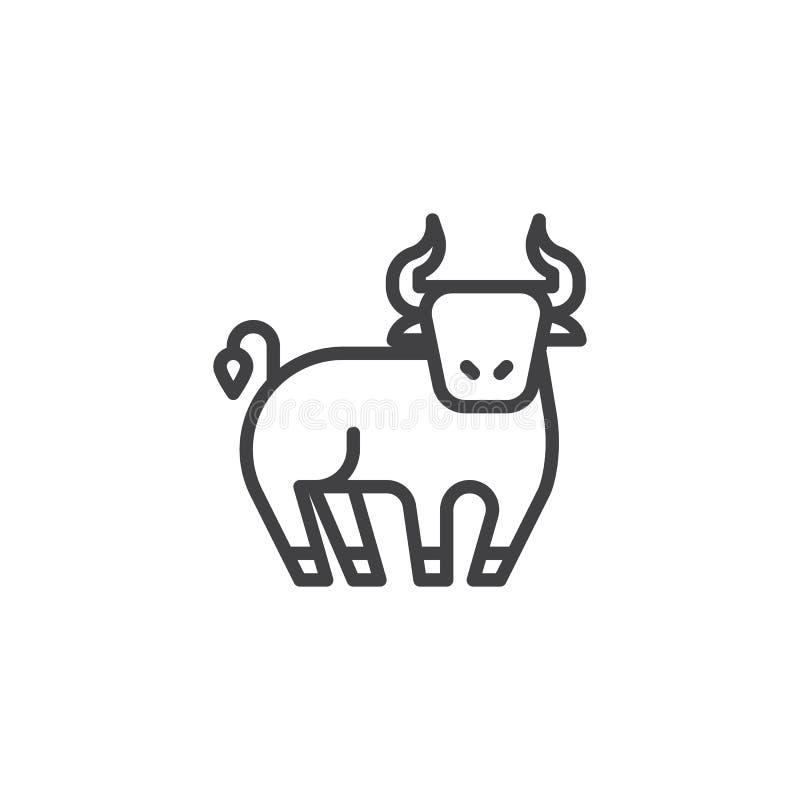 黄牛十二生肖线象 向量例证