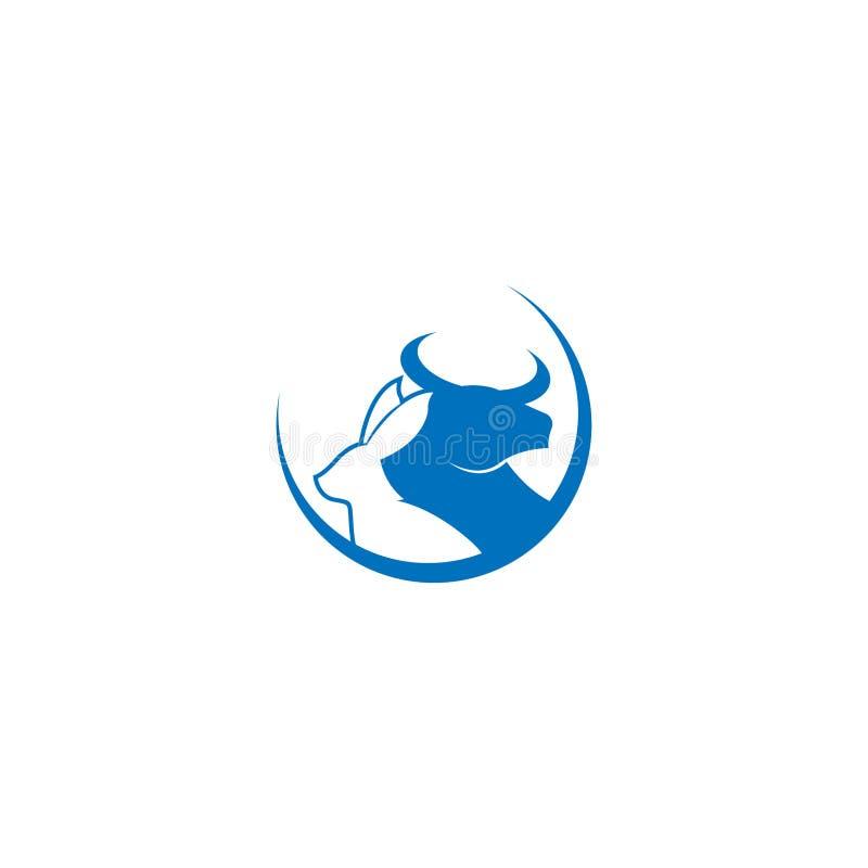 黄牛和野兔商标设计 一个公牛设计的传染媒介图象在白色背景的 商标,标志 公牛和兔子商标设计 库存例证