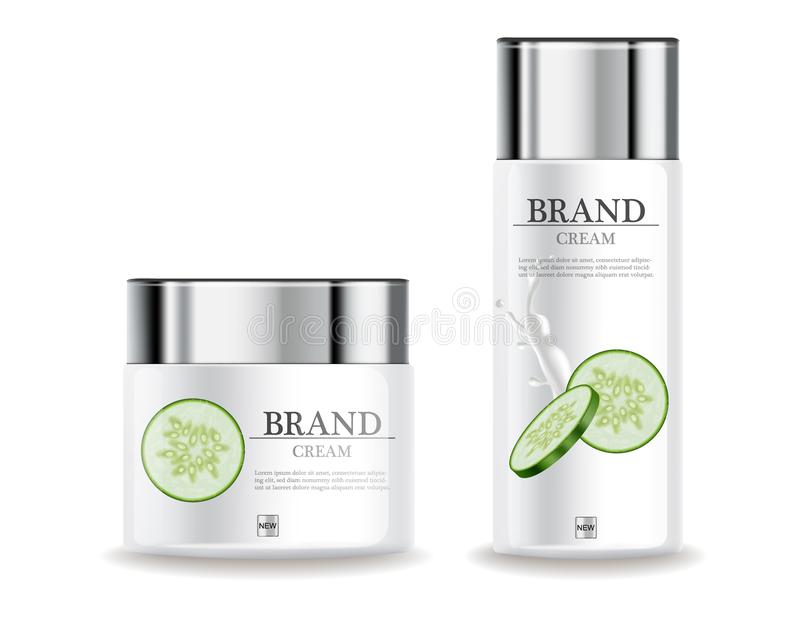 黄瓜奶油润肤霜现实水合作用的传染媒介 产品包装的大模型化妆用品 详细的白色瓶与 向量例证