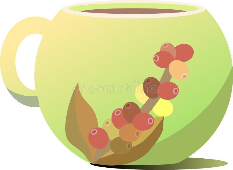 黄绿咖啡杯 以咖啡树的形式小树枝的图  免版税库存照片