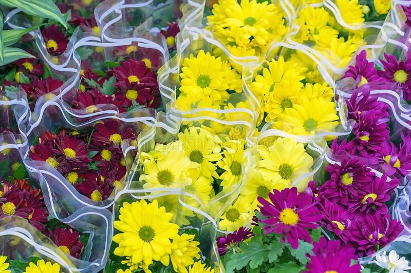 黄色、红色和紫色花花束在花店的柜台的 库存图片