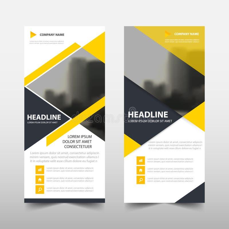 黄色三角卷起企业小册子飞行物横幅设计,盖子介绍摘要几何背景, 库存例证