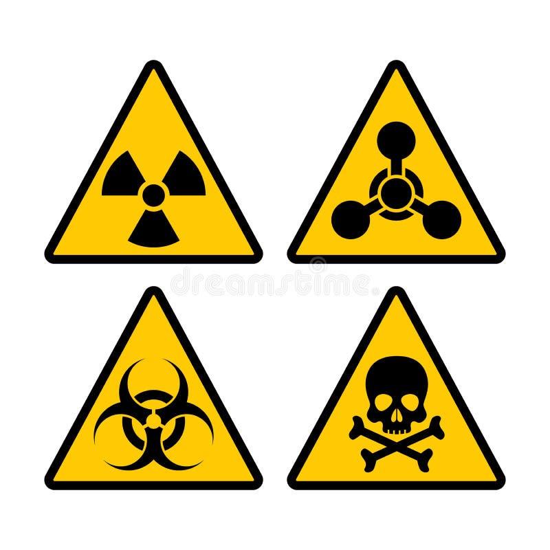 黄色三角警告生物危害品,放射性和毒性标志集合 生物危害品,化工危险警告传染媒介标志sti 向量例证