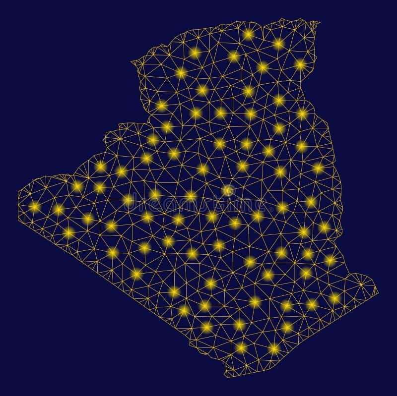 黄色与一刹那斑点的滤网第2张阿尔及利亚地图 向量例证