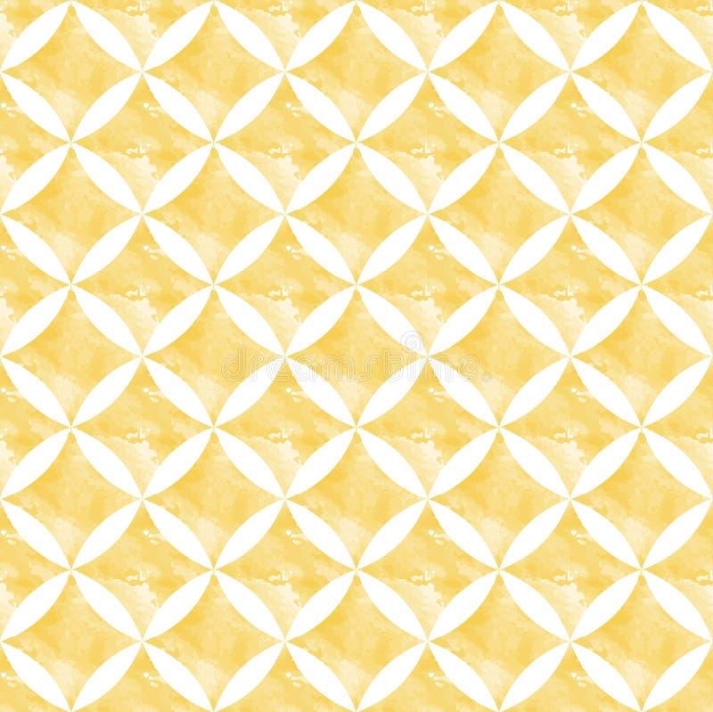 黄色与水彩作用的葡萄酒无缝的样式传染媒介 向量例证