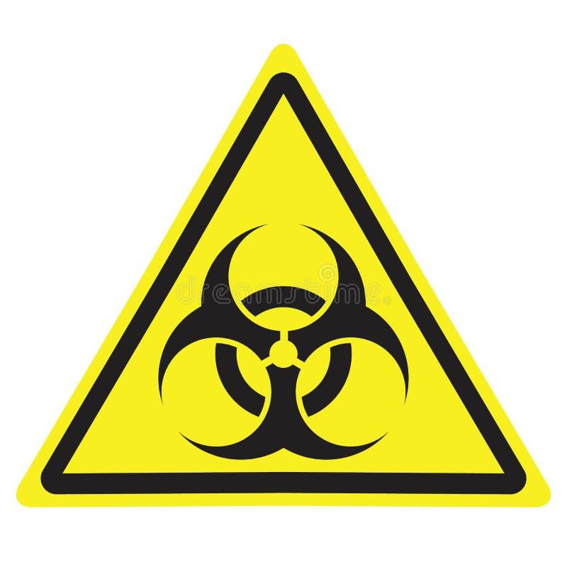 黄色与生物危害品标志的三角警报信号 库存例证