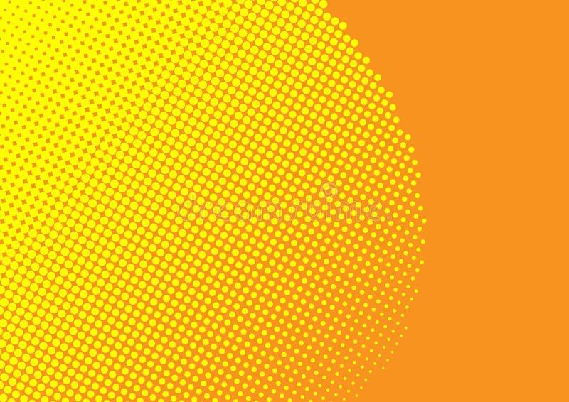黄色中间影调光点图形在橙色背景中 免版税图库摄影
