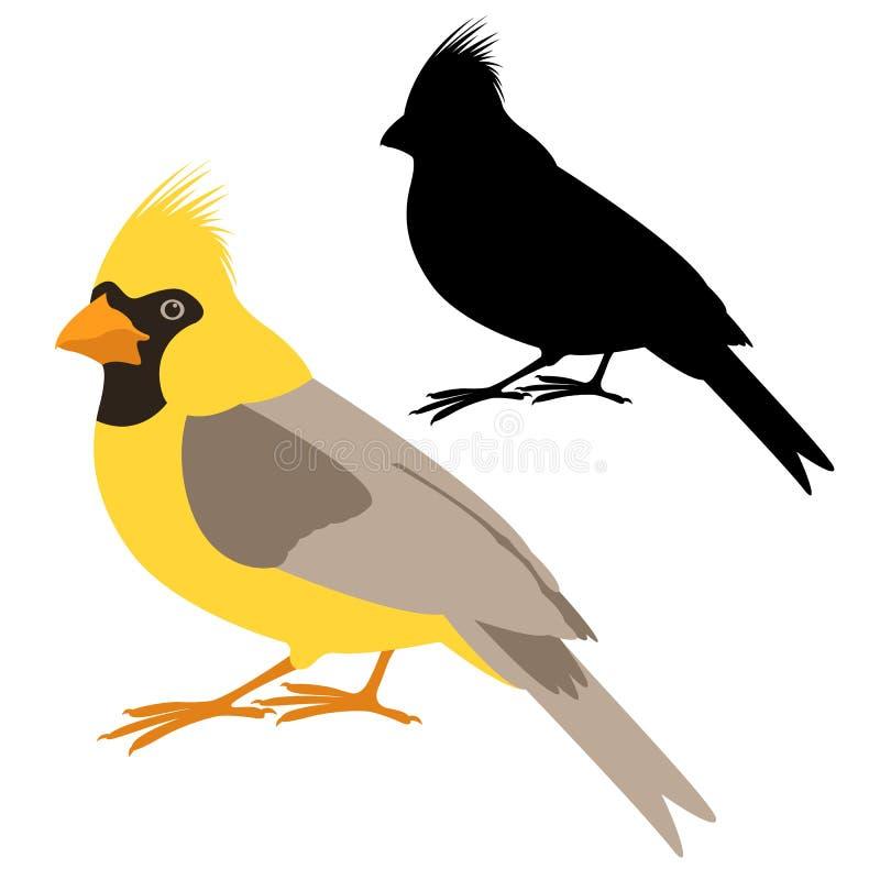 黄色主要鸟传染媒介例证平的样式黑色剪影 向量例证