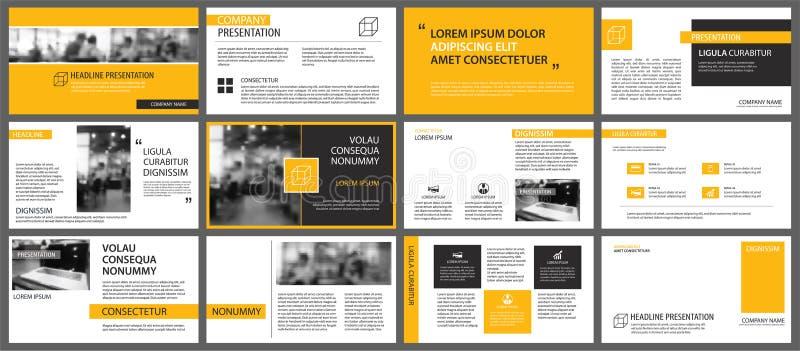 黄色介绍模板和infographics元素backgrou 向量例证