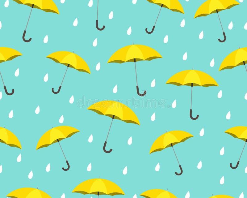 黄色伞的无缝的样式有下雨在蓝色背景的下落的 向量例证