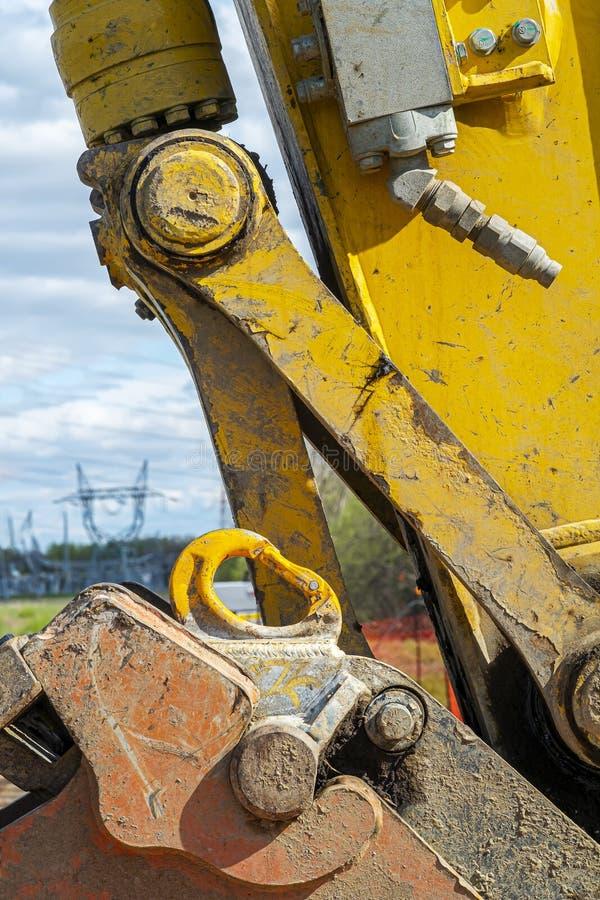 黄色修造的机械装载者细节 库存照片