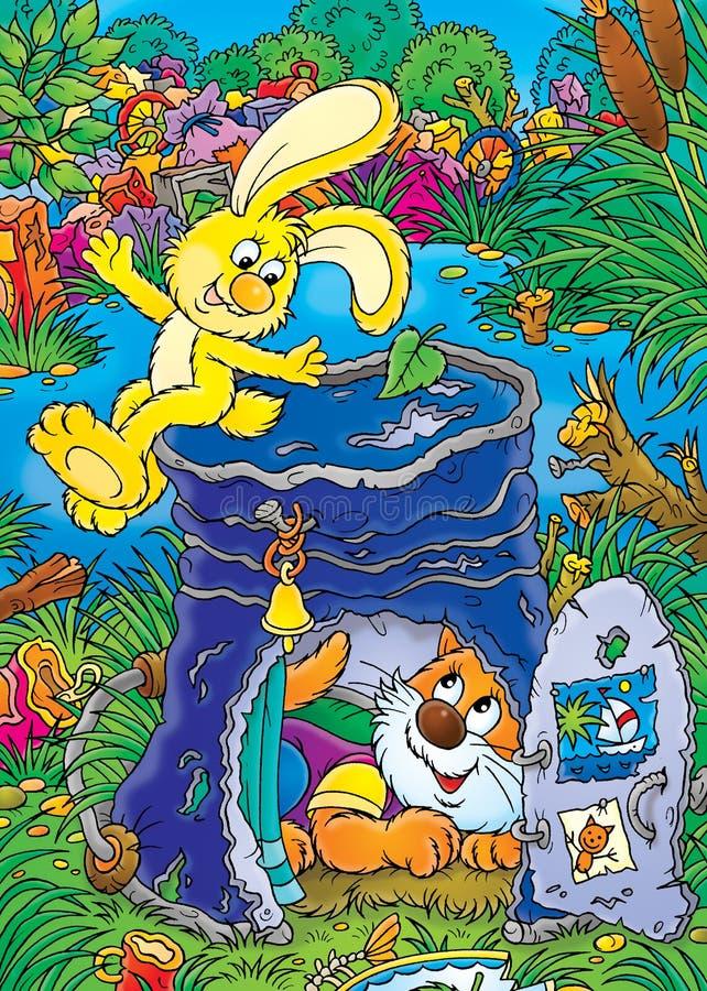 黄色兔宝宝和无家可归的小猫 皇族释放例证