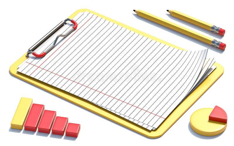 黄色剪贴板、纸、铅笔和图3D 皇族释放例证