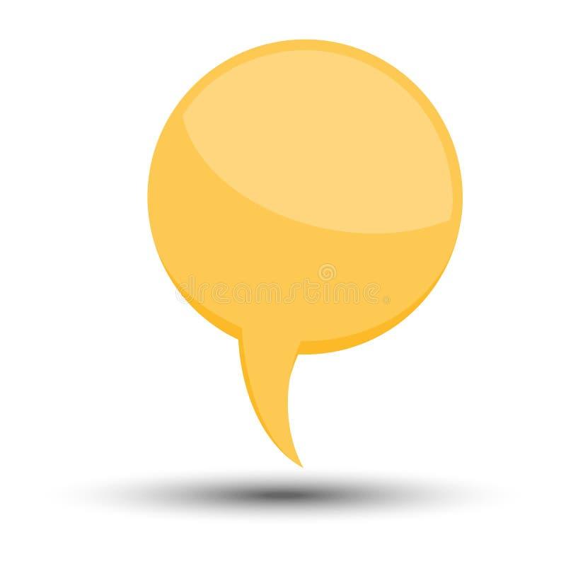 黄色动画片可笑的气球讲话泡影没有词组和与阴影 库存例证