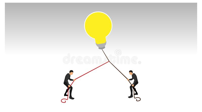 黄色劫掠的电灯泡光两人互相拉扯使用绳索拉扯的 扣压别人的欺诈的例证 库存例证