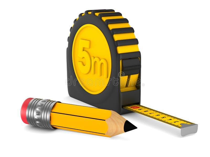 黄色卷尺和铅笔在白色背景 查出的3D 皇族释放例证